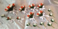 WEDDING PACKAGE-ARTIFICIAL FLOWERS ORANGE/WHITE FOAM ROSE BRIDES BOUQUET